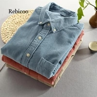 men 2019 spring and autumn fashion brand japan style vintage slim fit corduroy shirt male casual blue red shirt cloth