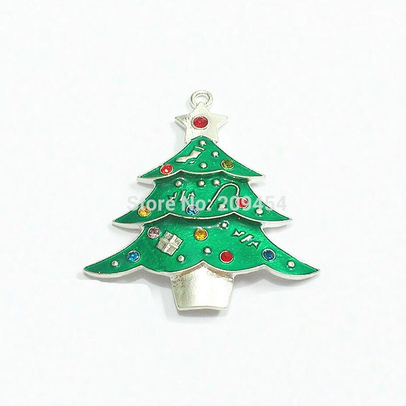 ¡El más nuevo! Tamaño grande 60mm * 60mm 10 unids/lote colgantes de diamantes de imitación de árbol de Navidad para hacer joyas de Navidad