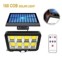 160 Cob уличный светильник на солнечной батарее с датчиком движения, водонепроницаемый, для крыльца, аварийный светодиодный светильник для ул...