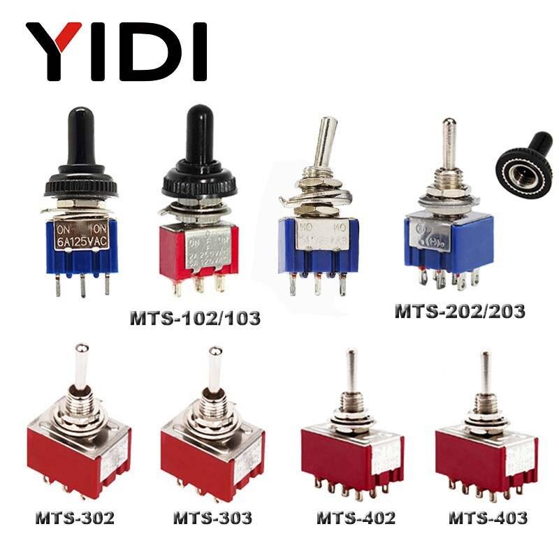 6A 125VAC mini 6 мм MTS 102 103 202 203 302 303 402 403 тумблер ВКЛ. SPDT DPDT ВКЛ. Вкл. 3PDT с водонепроницаемой крышкой