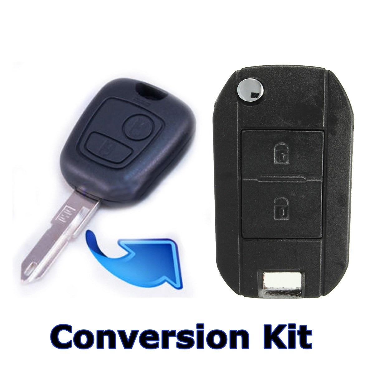 2 taste Fernbedienung Folding Key Fob Fall Konvertieren Für Peugeot 407 107 307 406 C2 C3 C4