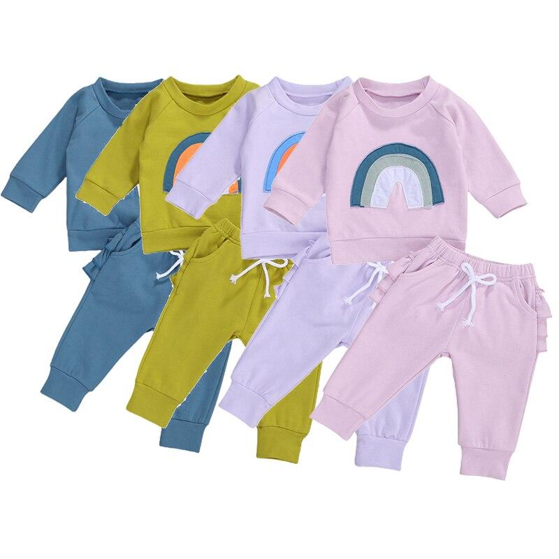Chłopcy dziewczęta ubrania zestawy wiosna jesień dzieci dzieci odzież nadruk tęcza bluzy topy + długie spodnie Casual dresy garnitury