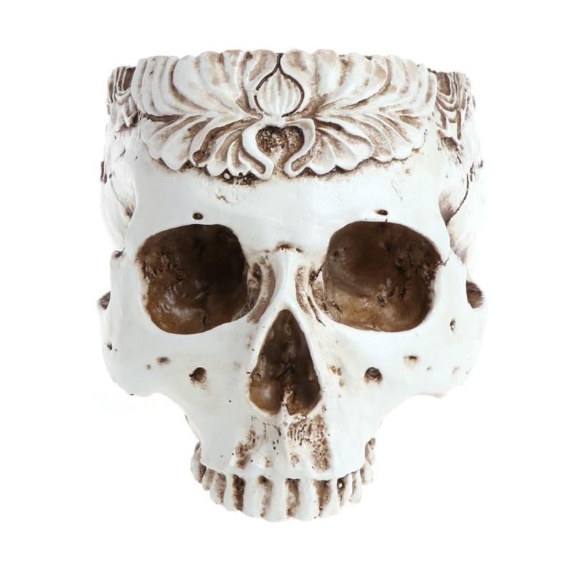 2020 nueva resina gótica calavera cabeza maceta contenedor hogar Bar decoración ornamental
