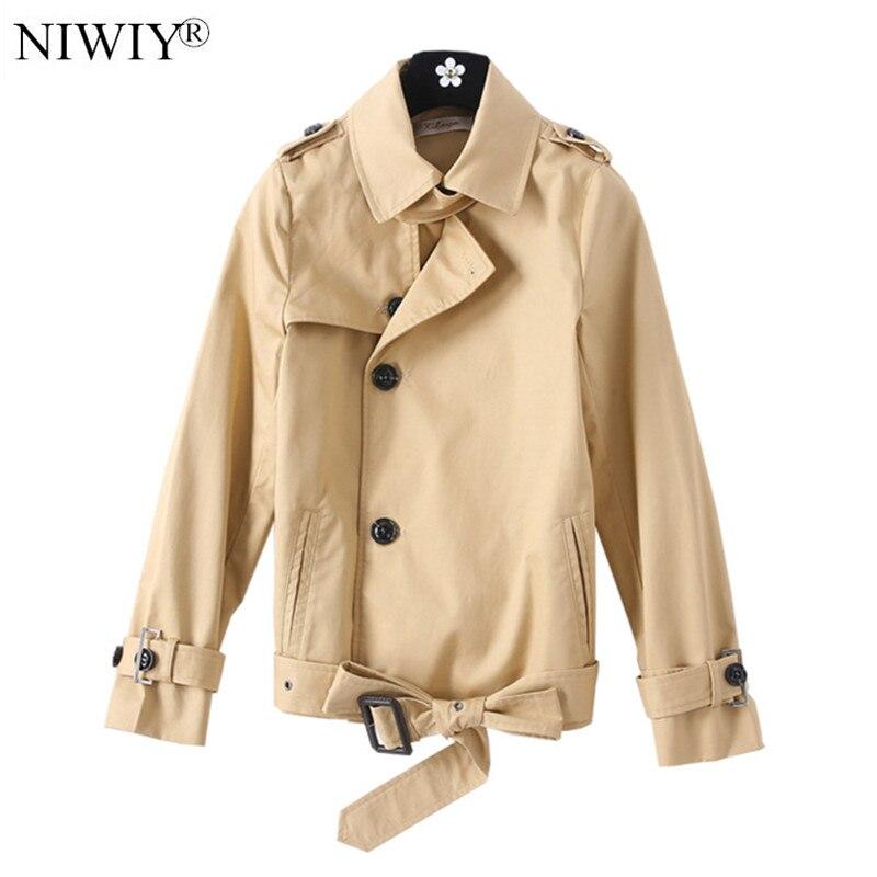 Gabardina corta de estilo coreano para Mujer, chaqueta Beige de manga larga...