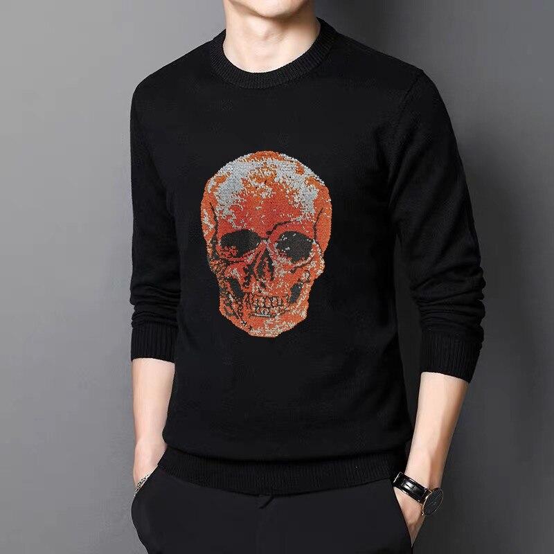 Мужские свитера подходят для зимы пуловеры повседневные модные черные шерстяные популярные черепа повседневные уличные Молодежные женски...