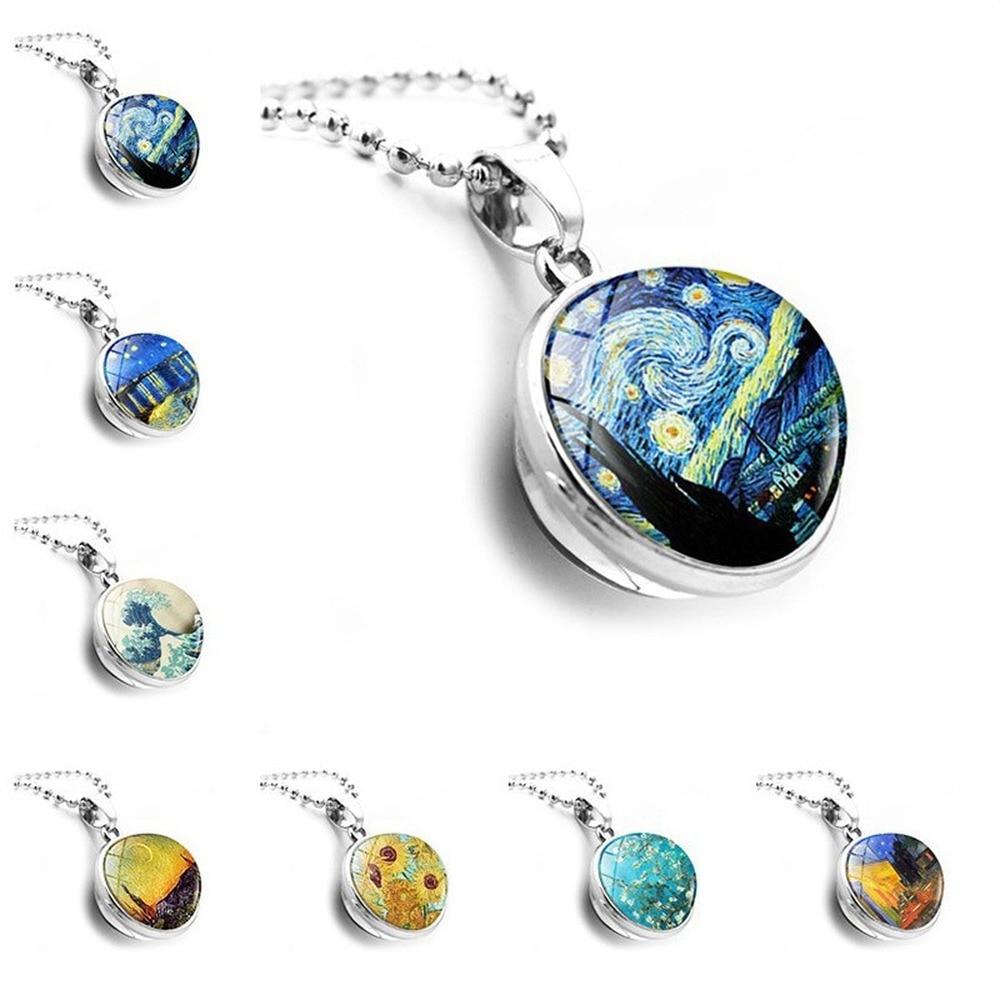 Colgante collar accesorios Van Gogh de gemas de tiempo de doble cara bola de cristal colgante de collar de moda suéter Cadena de joyería