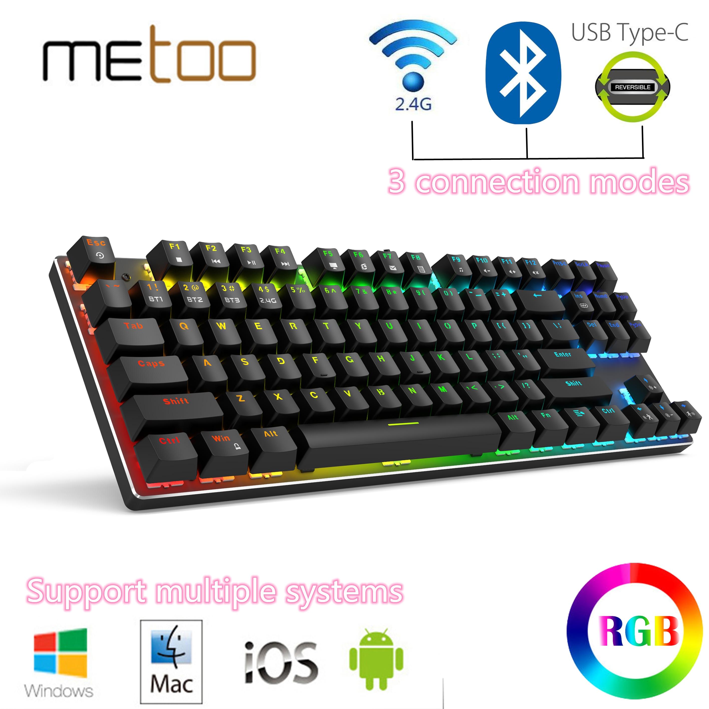 Metoo اديتيو السلكية/اللاسلكية Bluetooth5.0 3.0 2.4G لوحة مفاتيح الألعاب الميكانيكية RGB الخلفية 87Key ل iOS ماك أندرويد ويندوز