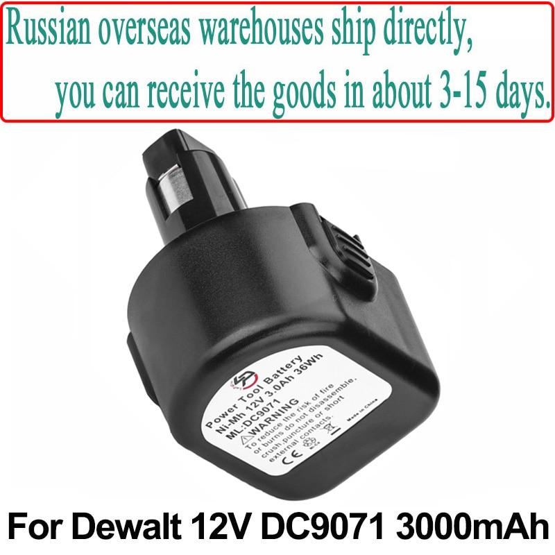 Batería de herramienta eléctrica de 12V, 3,0 Ah, 3000mAh, recambio para Dewalt DW9071, DW9072, DC9071, DE9037, DE9071, DE9072, DE9074