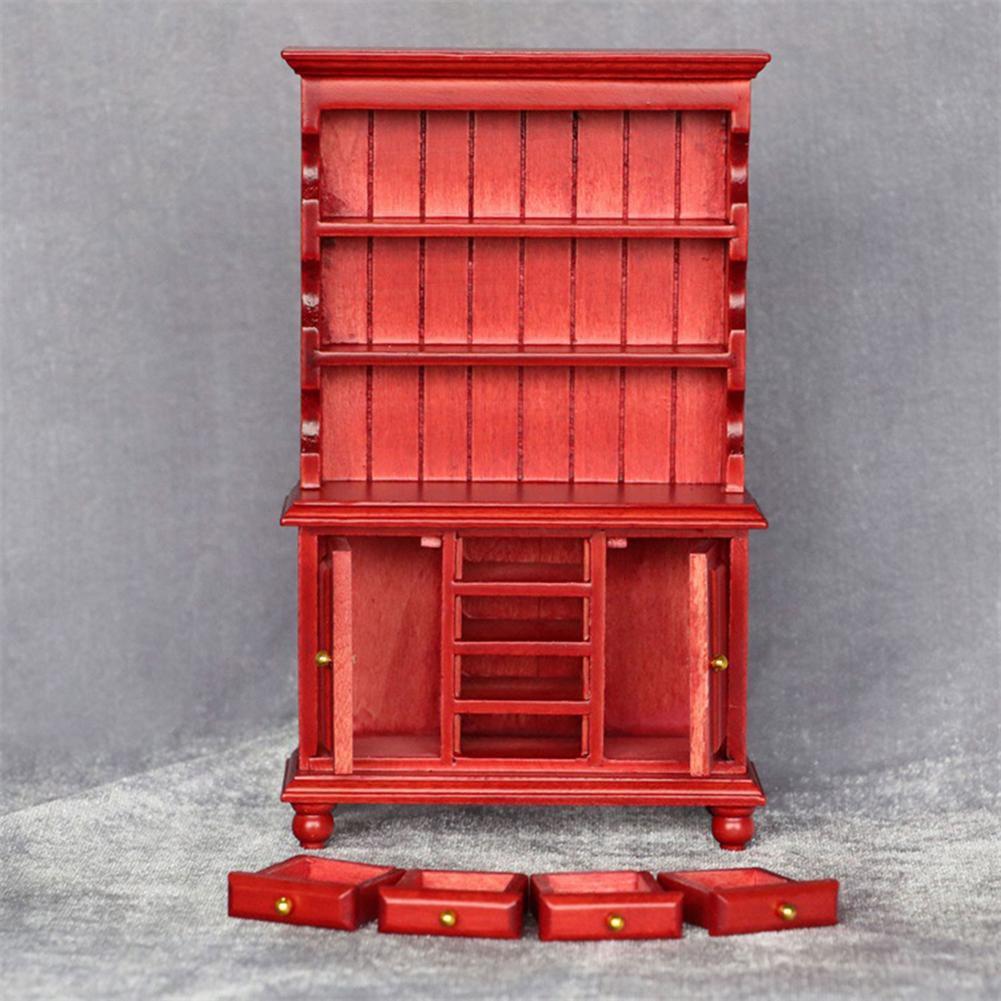 2021 Роман кукольный домик Миниатюрный шкафчик Деревянный Китайский классический гардероб безопасный кукольный домик мини шкаф Кукольный д...