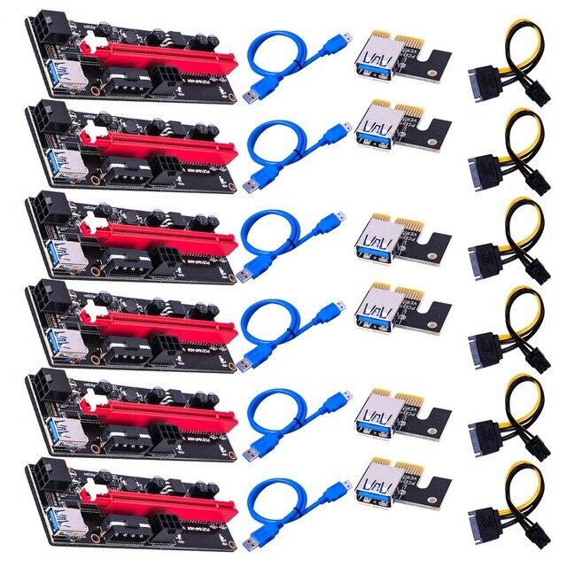 3/6 قطعة جديد PCI-E Pcie Riser 009 Express 1X إلى 16x موسع PCI E USB Riser 009S المزدوج 6Pin محول بطاقة SATA 15pin ل BTC التعدين