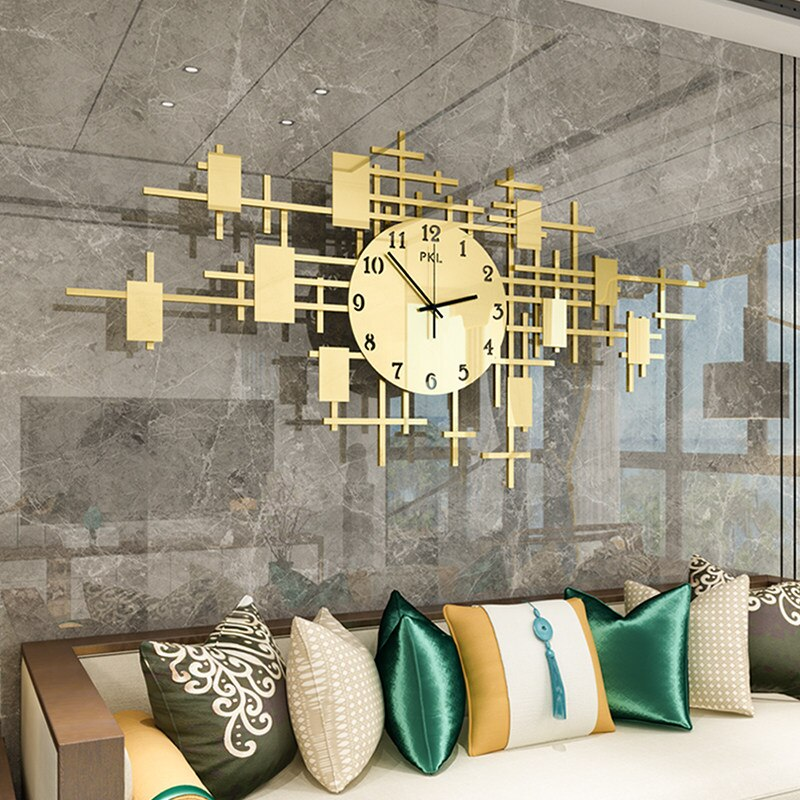 Reloj de pared Moda Nórdica, reloj de pared de Metal, decoración del hogar, sala de estar, dormitorio, reloj silencioso, reloj de pared Digital de diseño moderno