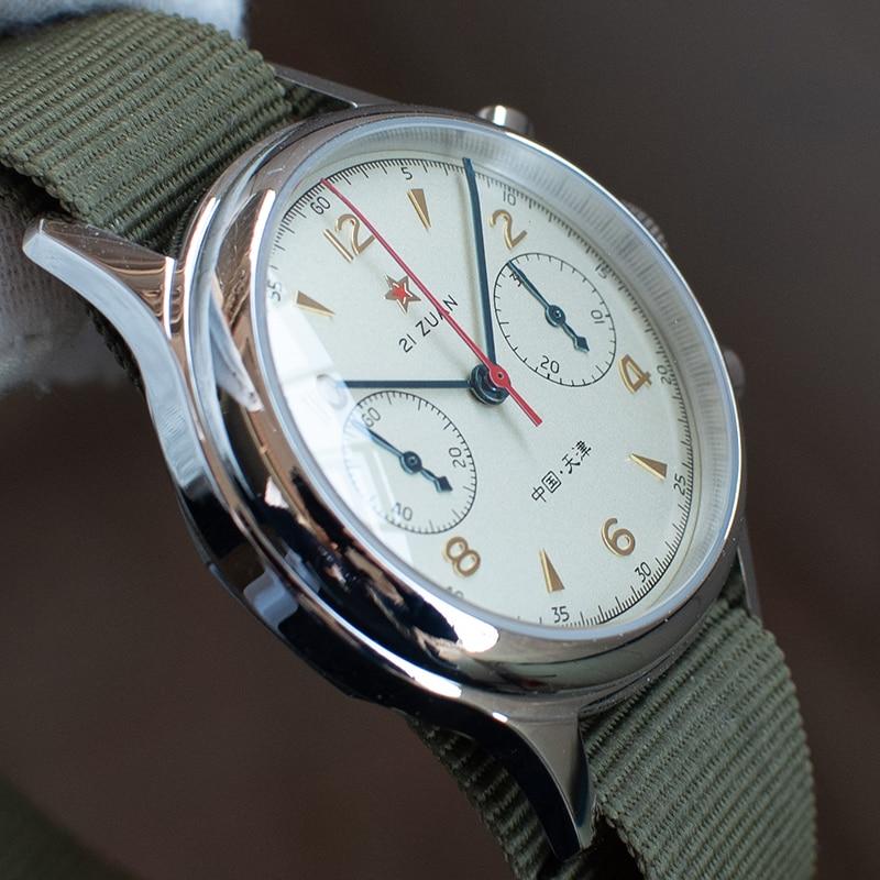Reloj mecánico con movimiento GIV ST1963, relojes con cronógrafo de cristal de zafiro para hombres, reloj a la moda resistente al agua para hombres