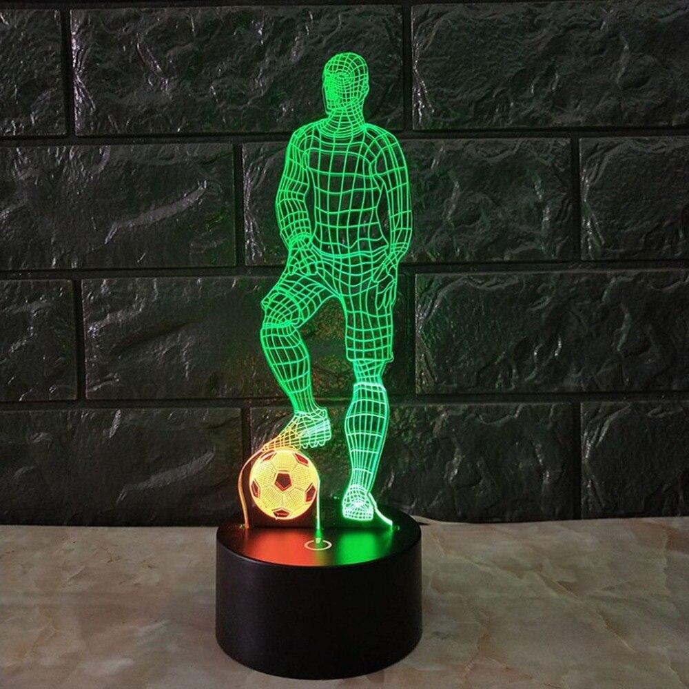Lámpara de mesa táctil de fútbol 3D 7 colores que cambian la lámpara de escritorio lámpara de noche alimentada por USB fútbol LED Luz Decoración de dormitorio regalo