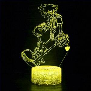Japan Anime Kingdom Heart LED Night Light Touch Sensor Children's Room Gift Decoration Birthday Christmas Gift 3d Light