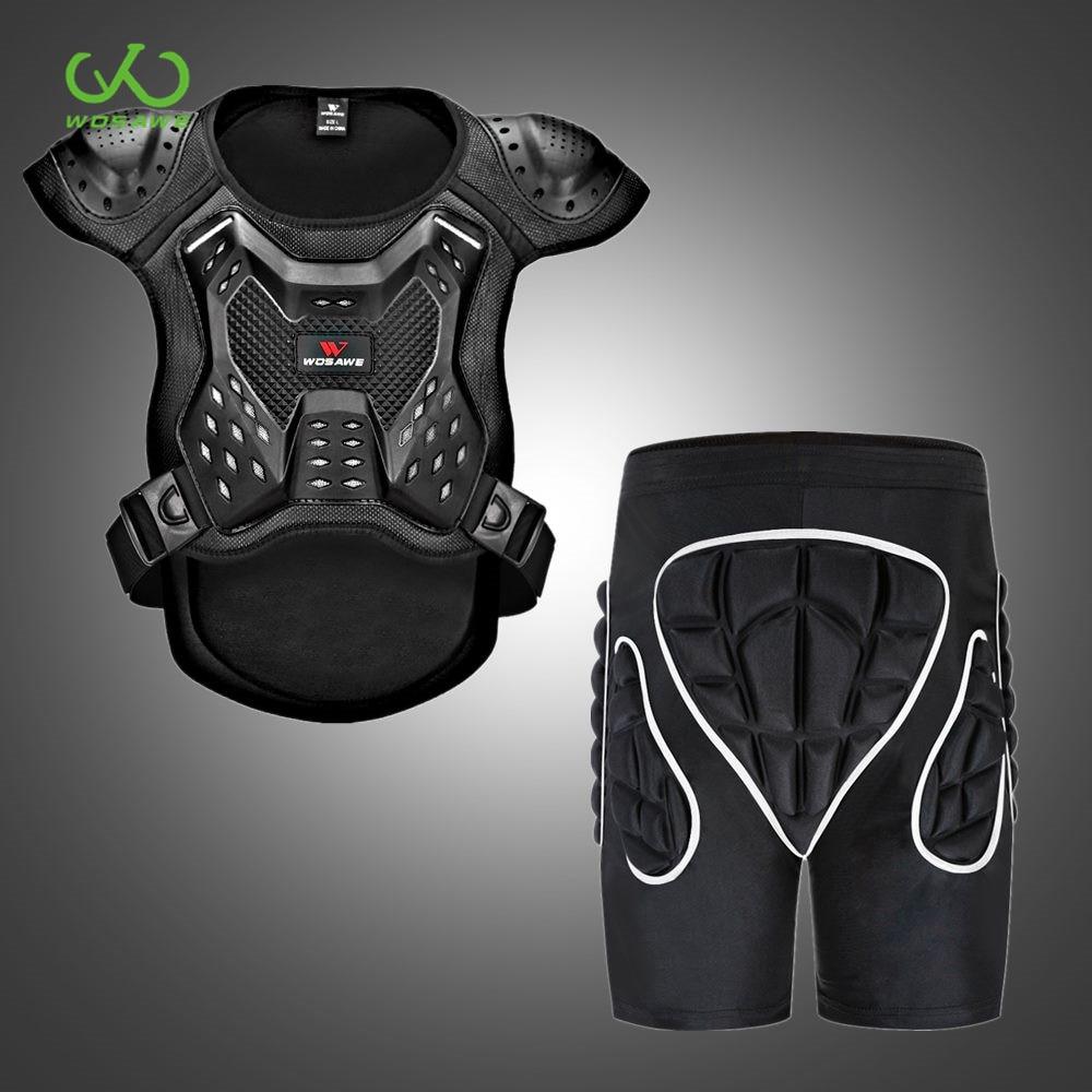 WOSAWE Anti-break Motocross Protective Suit Armor Jacket Shorts Kit Snowboard Ski Sports Sleeveless Motorcycle Body Protection