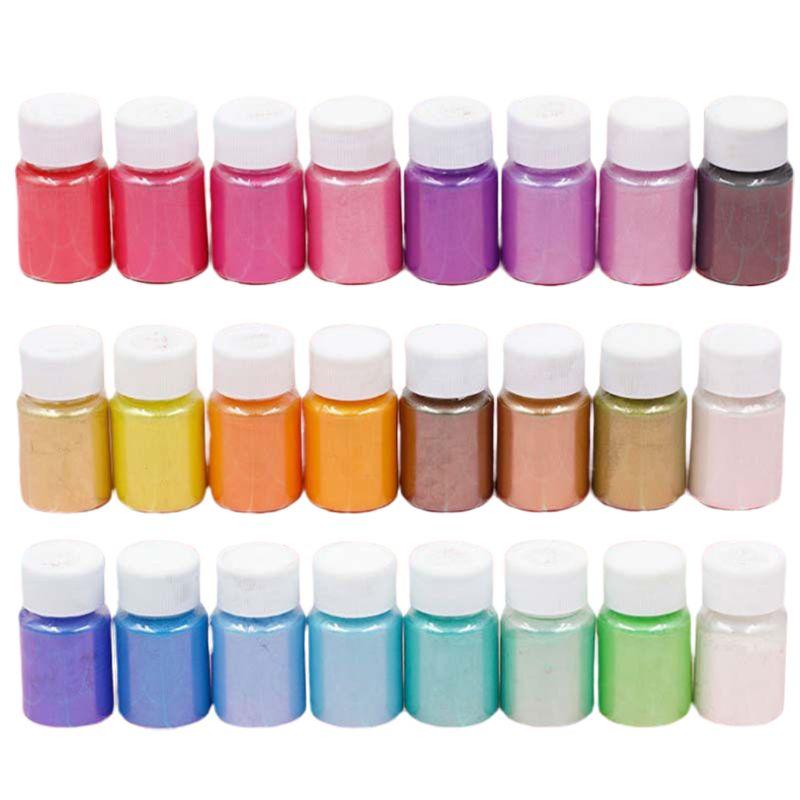 24 unids/set de polvos nacarados Slime manualidades DIY para hacer brillantina de resina de cristal