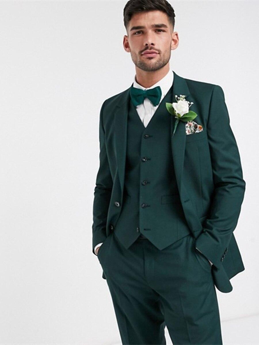 Handsome Two Buttons Groomsmen Notch Lapel Groom Tuxedos  Men Suits Wedding/Prom/Dinner Best Blazer(Jacket+Pants+Vest+Tie) 365