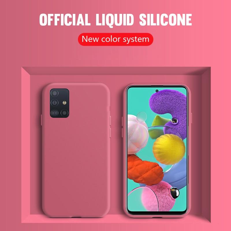 Flüssigkeit Silikon Fall Für Samsung Galaxy A21S A31 A41 M21 M31 A01 A51 A71 A20e A30 A40 A50 A70 Hinweis 10 S20 Ultra S9 S10 Plus S10e