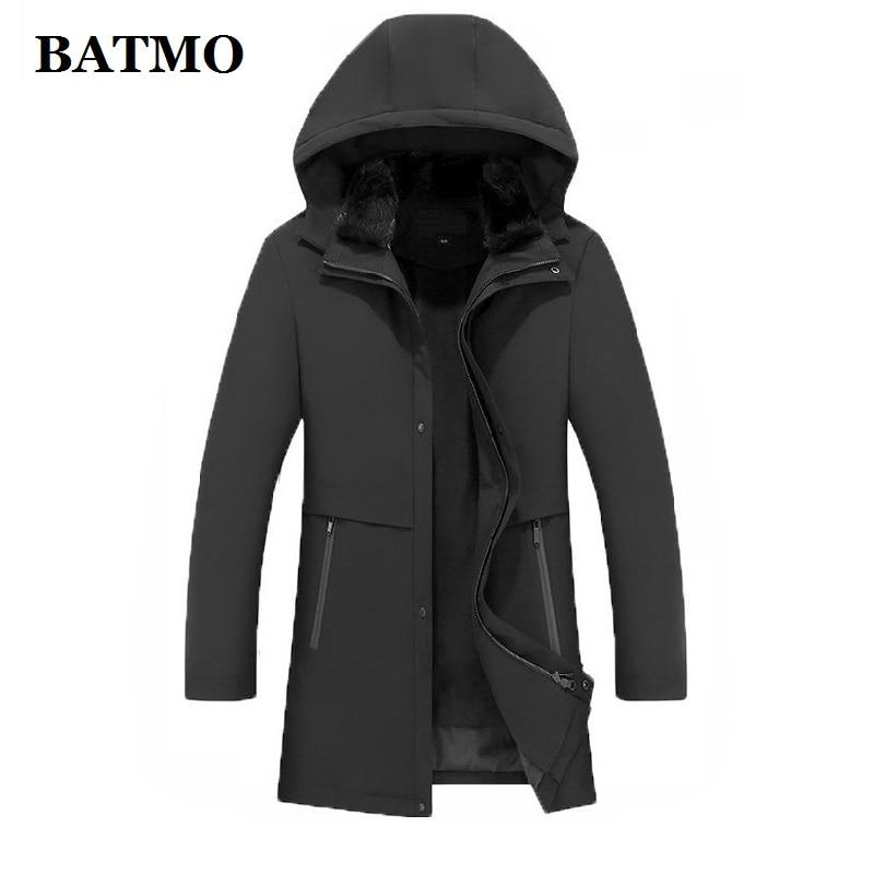 BATMO 2020 الشتاء الطبيعي الأرنب الفراء طوق و فرو منك بطانة مقنعين سترة الرجال ، الشتاء الدافئة سترات الرجال حجم كبير M-4XL PDD24