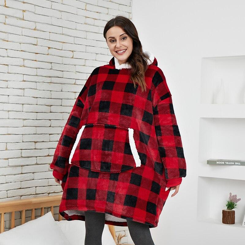 Мужская клетчатая толстовка, женское оверсайз флисовое ТВ одеяло с рукавами, утепленная толстовка с капюшоном, плюшевый пуловер, зимний Кар...