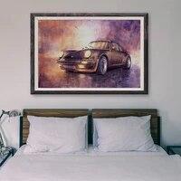 Peinture classique de voiture de course retro T053  10 affiches personnalisees en soie  Art mural  cadeau de noel