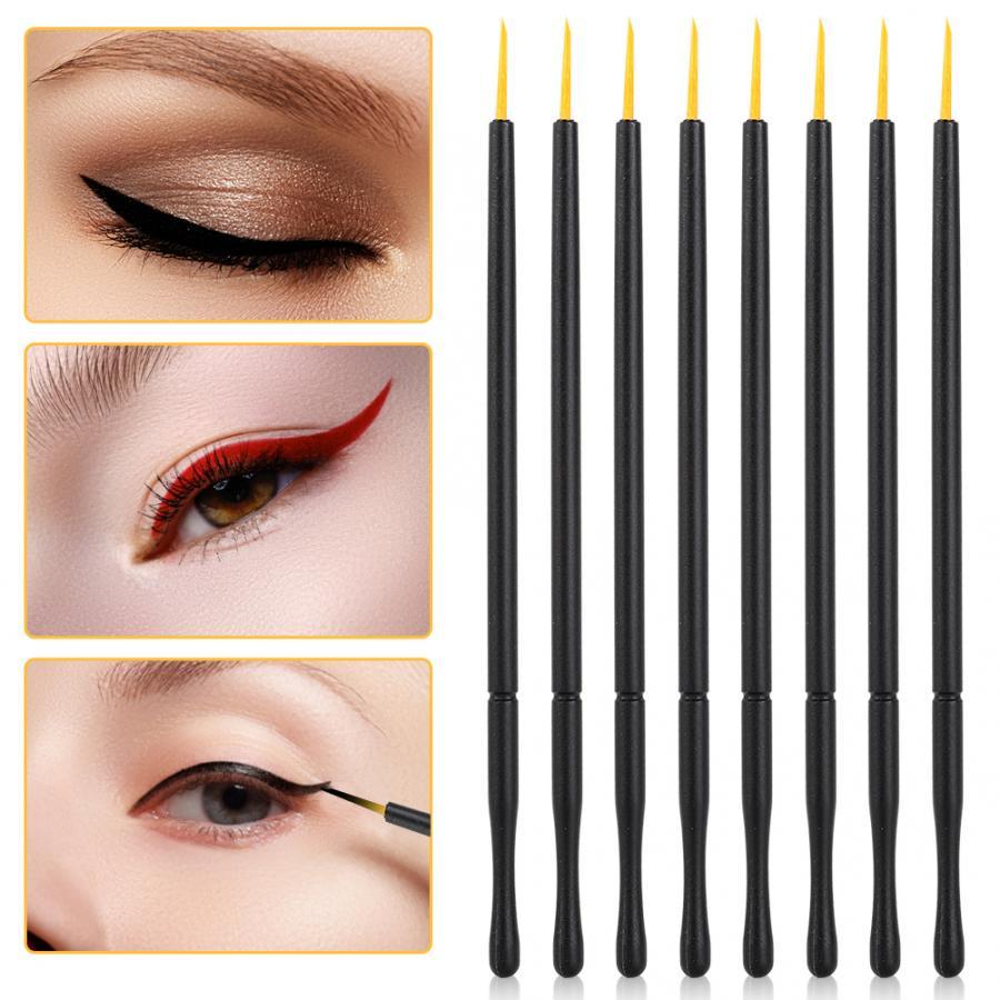 100 pçs escova de delineador descartável cabeça dura delineador líquido pincel sombra de olho laranja pele escova beleza profissional maquiagem ferramentas