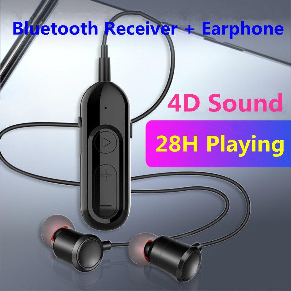 Приемник Bluetooth 5,0 28H с микрофоном для наушников, разъем 3,5 мм, AUX, беспроводной аудиоадаптер для автомобильных наушников, динамиков, стерео муз...