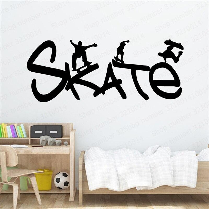 Skate pegatinas de pared de dibujos animados de Pvc, arte Mural bricolaje, sala de estar póster para, dormitorio, decoración artística, papel tapiz PW40