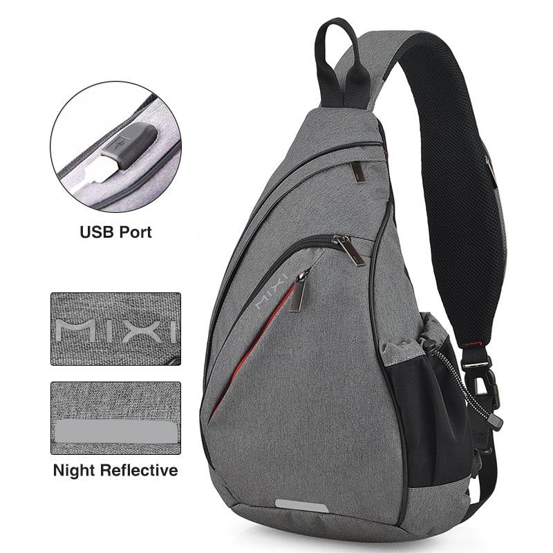 Nahrbtnik z enim ramenom z USB-jem, ženska torba za sling, - Nahrbtniki - Fotografija 4