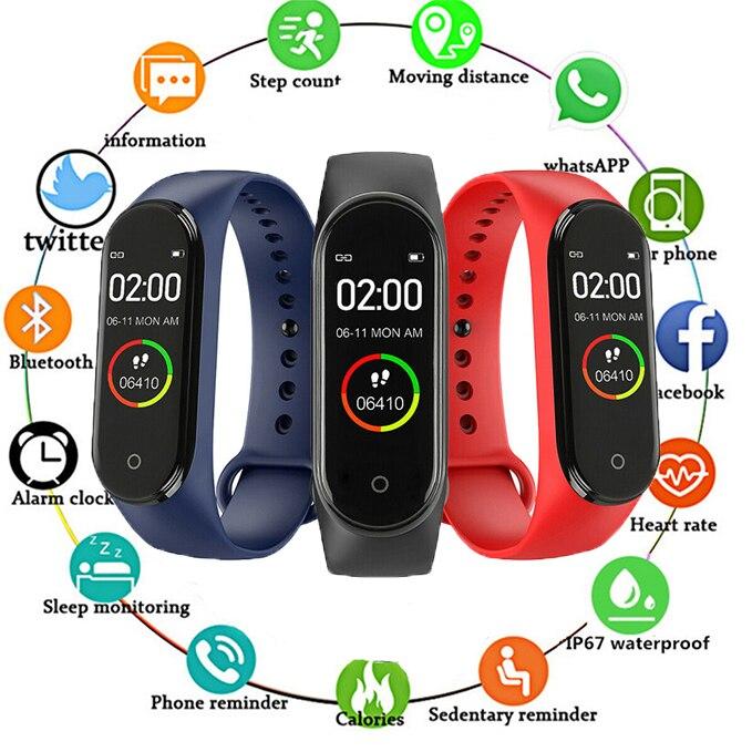 Reloj inteligente M4 de alta calidad para hombre y mujer, Monitor de ritmo cardíaco y presión sanguínea, brazalete de Recordatorio DE INFORMACIÓN deportivo portátil