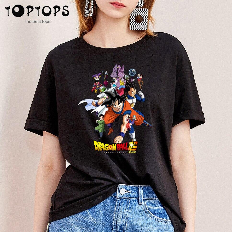 Women Dragon Ball Z super son goku Funny Cotton T Shirt Unisex Skateboard Christmas Tshirt Female Girl Clothes Streewear Shirt