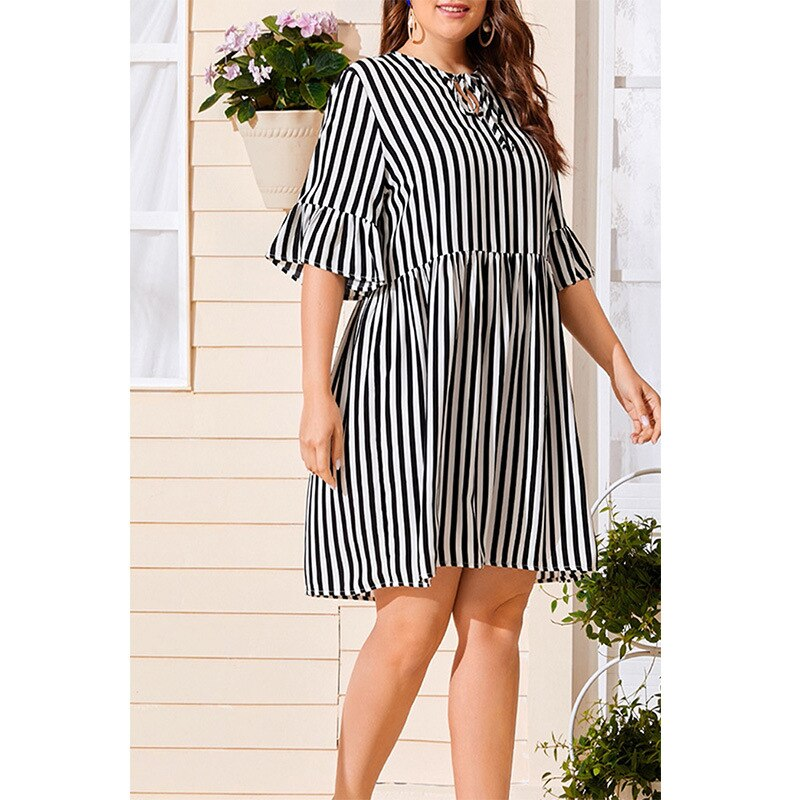 Plus Size Dress Dress for Women Temperament Loose Dress Summer 2021 Stripe Printing Printing Splicing Big Skirt Ladylike