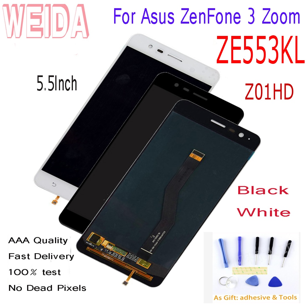"5.5 ""weida para asus zenfone 3 zoom ze553kl z01hd z01hda display lcd + tela de toque digitador assembléia com ferramentas fita ze553kl lcd"