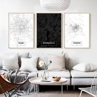 beijing shanghai washington d c map printing nordic poster mural canvas painting mural living room decoration