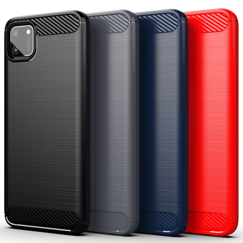 For OPPO Realme C11 Case Soft Carbon Fiber Phone Case For Realme C17 Shockproof Full Protection Sili