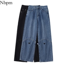 Nbpm New 2021 Fashion Heart Jeans For Girls Baggy Jeans Woman High Waist Streetwear Denim Trousers P