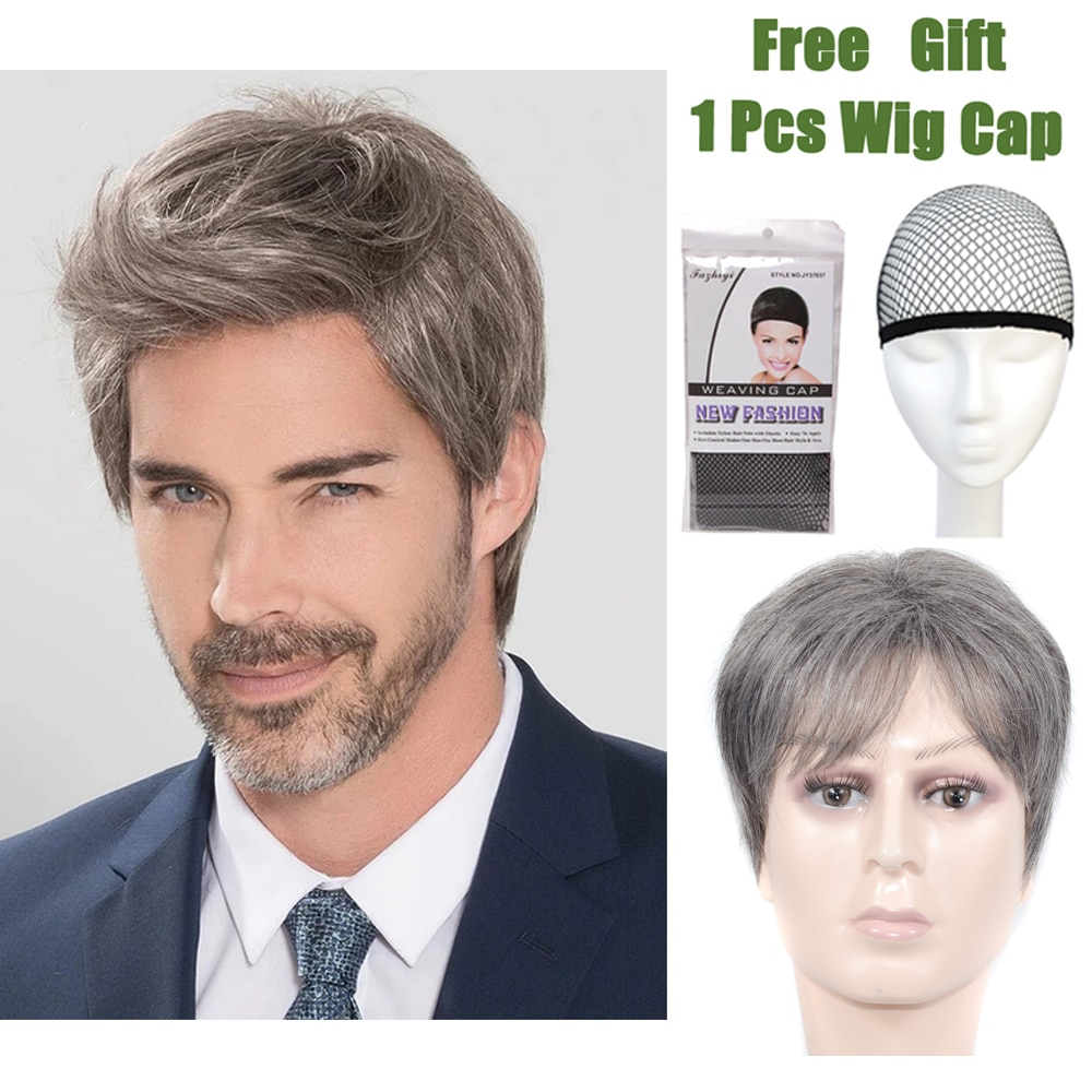 Middle-aged And Elderly Men Wig Short Straight Hair Wigs For Men Synthetic High Temperature Fiber Wigs