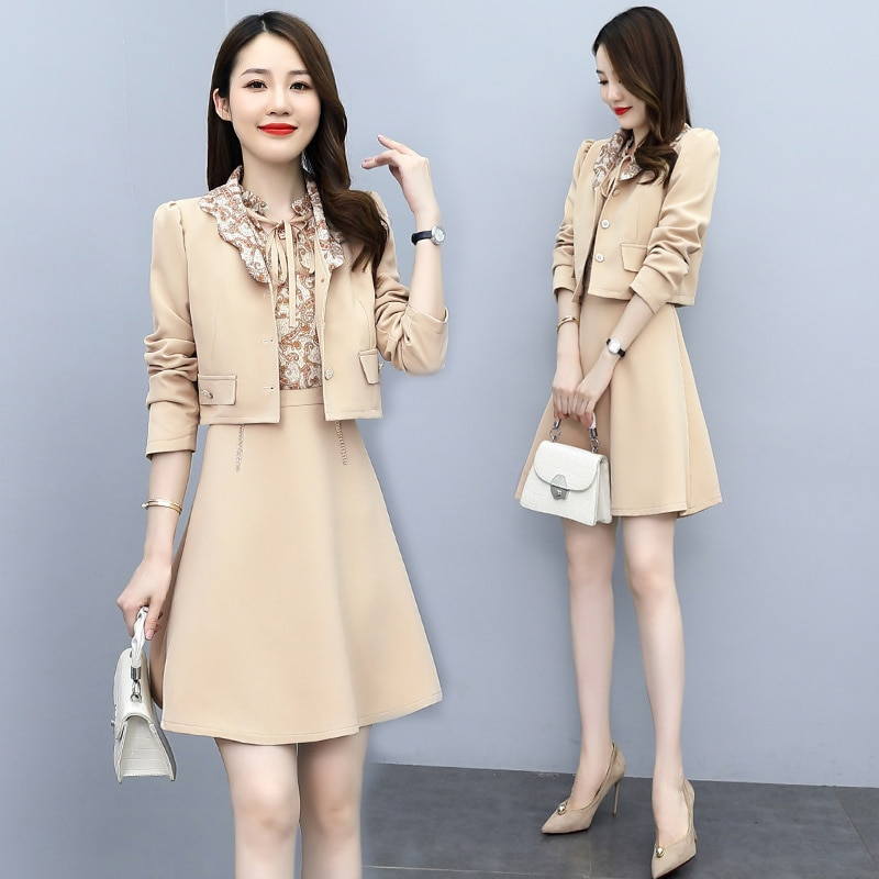 2021 herbst Neue Elegante Einfache Mode Persönlichkeit Temperament Jugendliche-Suchen Geriffelte Kragen Gedruckt Zwei-Stück Anzug Rock