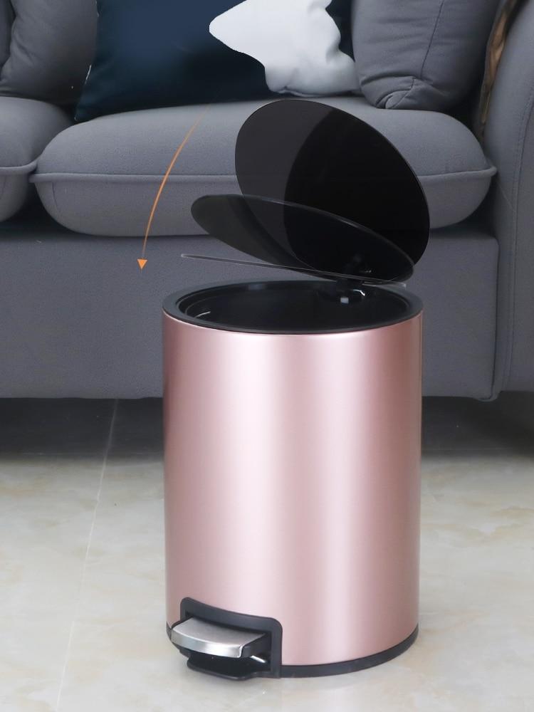 Luxury Nordic Waste Bin Large Waterproof Bathroom Press Stainless Steel Trash Can Kitchen Storage Cubo Basura Home Products 50 enlarge