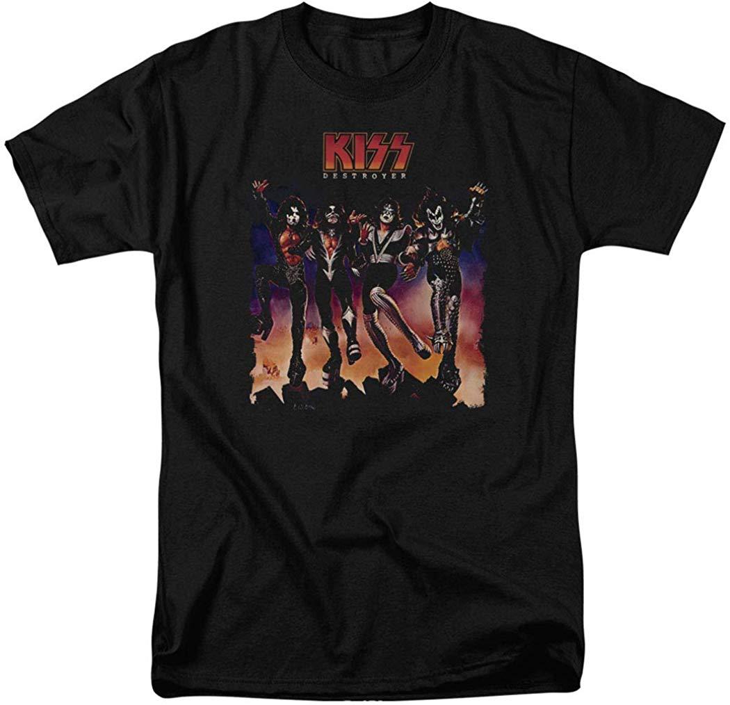 KISS Destroyer Gene Simmons Rock Band camiseta hombres mujeres pegatinas verano estilo Tops camiseta