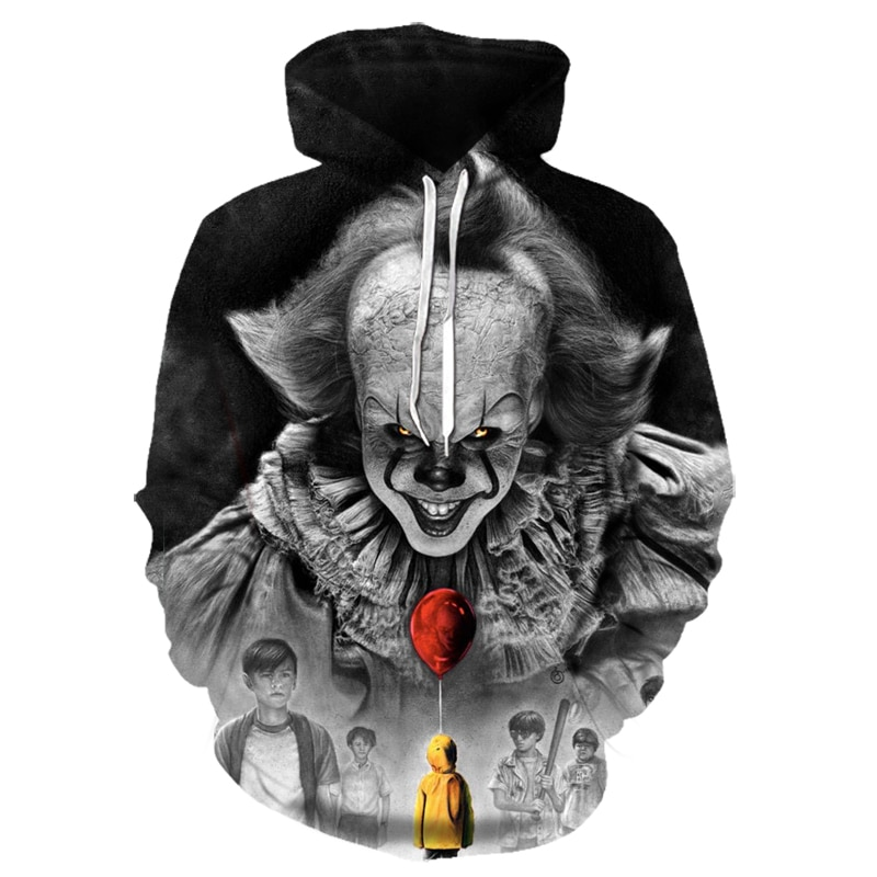 free shipping halloween children s clown costume masquerade performance clothing stage circus clown comedy costume boy cosplay Movie Stephen King ITThe Clown Pennywise 3D printing Hoodies Cosplay Costume Men Women Cartoon Clown  Halloween Sweatshirt 4XL