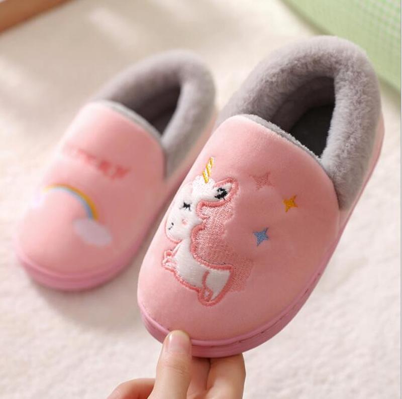 Unicorn Kids Slippers for Toddler Boys Indoor Shoes Baby Girl Fur Slides Cotton Flip Flop Warm Winte