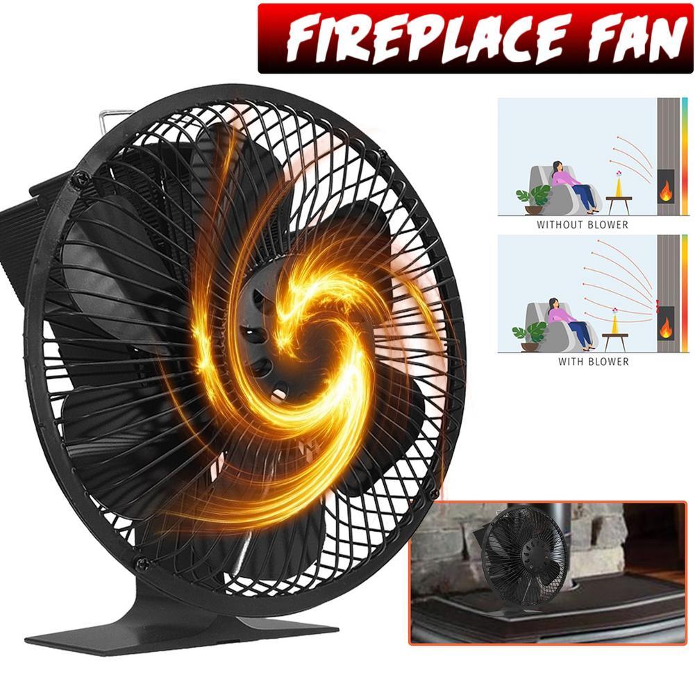 الطاقة الحرارية مدفأة الموقد 6 شفرات موقد مروحة مع غطاء الموقد مروحة التدفئة كفاءة مسخن الهواء مروحة منخفضة الضوضاء