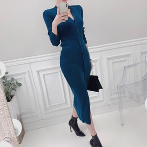 V-Neck Wrapped Knitted Dress Women Autumn Solid Sheath Sweater Dresses Women Bodycon Long Sweater Female New