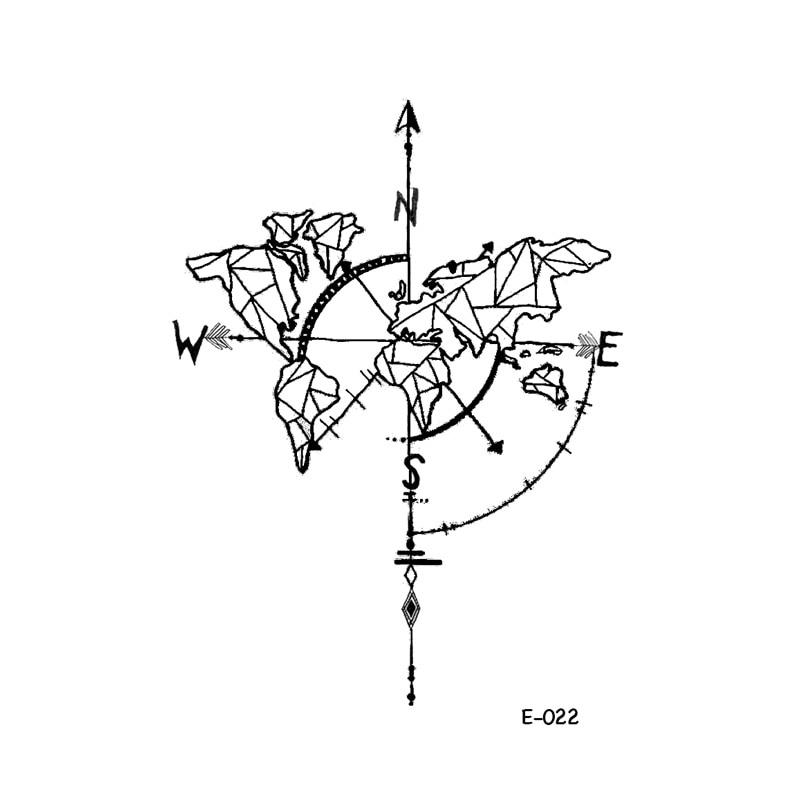 WYUEN impermeable mapa del mundo tatuaje temporal adhesivo arte corporal para mujer nuevo diseño Gem montaña universo falso hombres tatuajes E-022