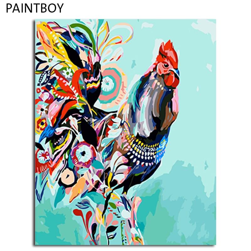 Paintboy emoldurado pintura diy por números na tela de animais coloridos pintura a óleo decoração para casa sala de estar arte da parede 40x50