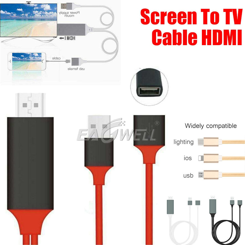 1M Usb Type-C Naar Hdmi Kabel Adapter Converter Opladen Kabel 1080P Ultra Hd 4K Hdtv video Voor Iphone Ipad Ipod Toch 5e/6th Gen