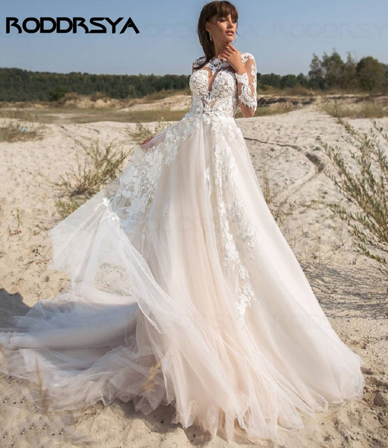 RODDRSYA Gorgeous Wedding Dresses Long Sleeves Lace Buttons Tulle A-Line Dubai Wedding Gown Bridal Dress vestidos de verano