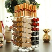 Casier rotatif à 64 cases pour rouges à lèvres   Organiseur acrylique de stockage pour rouges à lèvres 360 degrés tour de stockage pour maquillage support de vernis à ongles