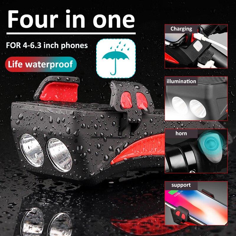Multi-función 4 en 1 Luz de bicicleta soporte de teléfono Luz de bicicleta linterna de bicicleta incluida la energía móvil 2000/4000 MAh Luz de ciclismo